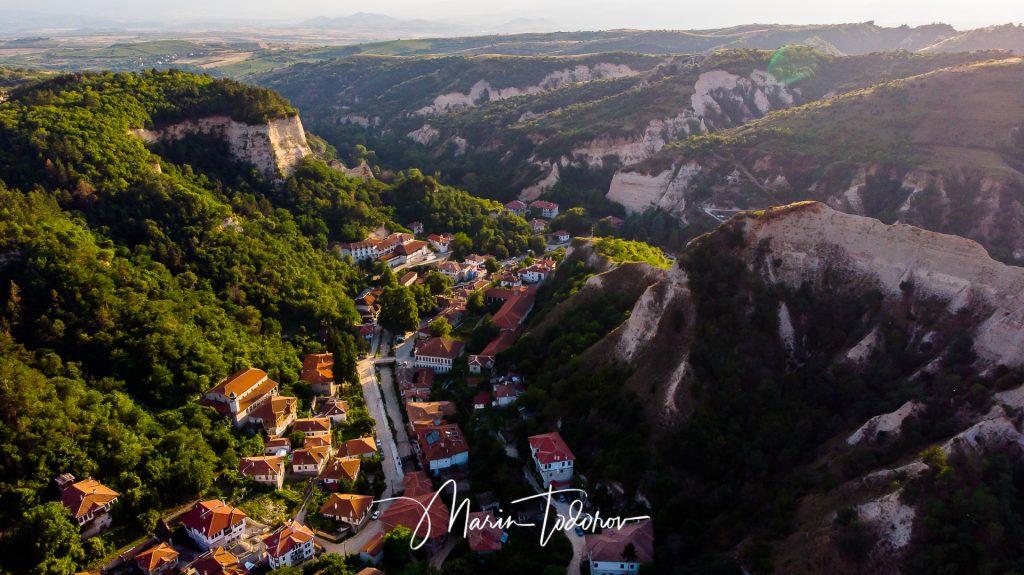 Small town of Melnik as seen from bird's eye